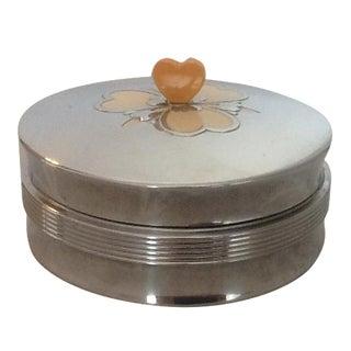 Art Deco Metal & Glass Heart Finial Box