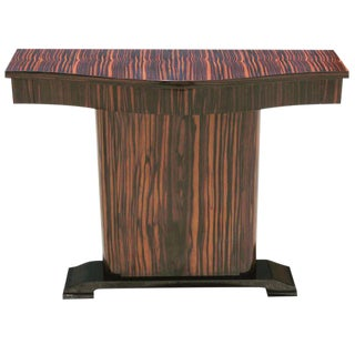 Unique French Art Deco Macassar Ebony Console Table Circa 1940s.