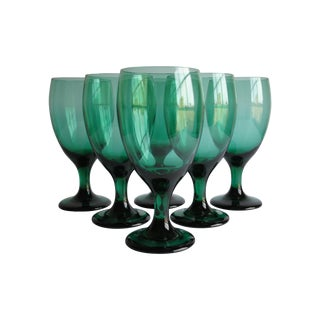 Vintage Teal Glasses - Set of 6