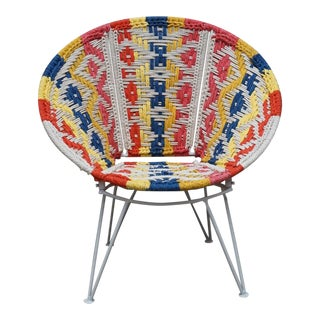 Boho Style Multi Colored Woven Papasan Chair