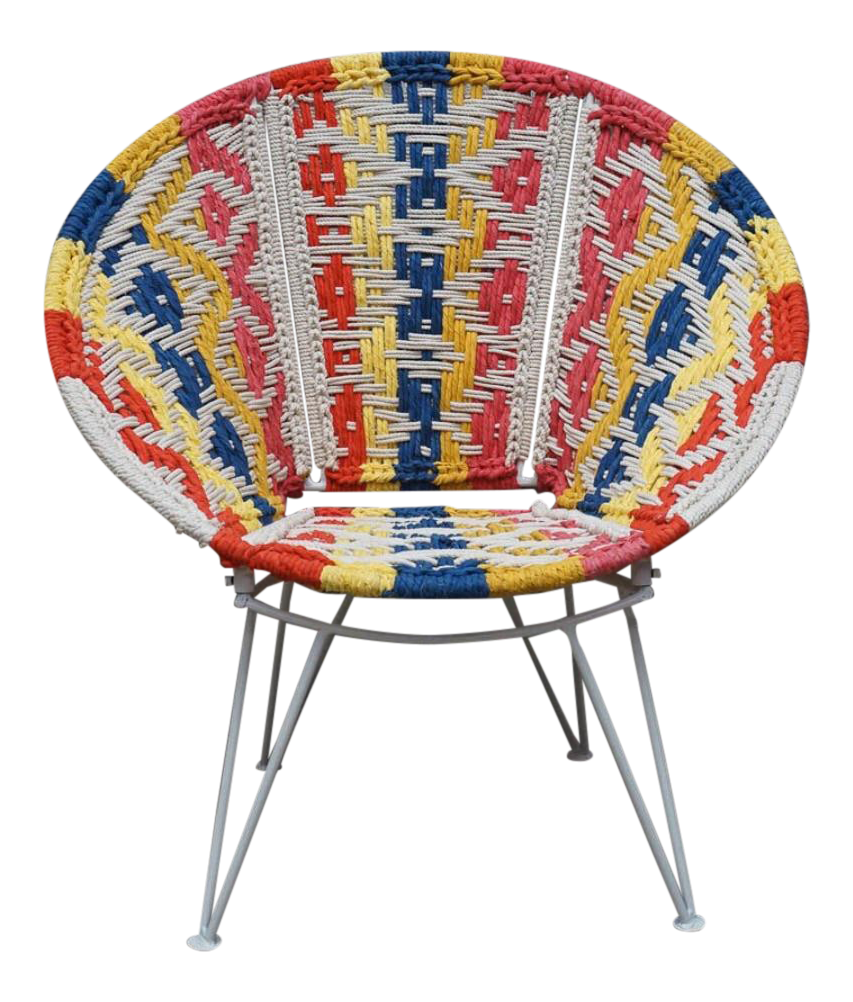 Boho Style Multi Colored Woven Papasan Chair