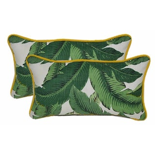 Tommy Bahama Palm Yellow Corded Lumbar Pillows- A Pair