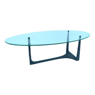 Cast Steel and Glass Cocktail Table in the Manner of Paul Evens