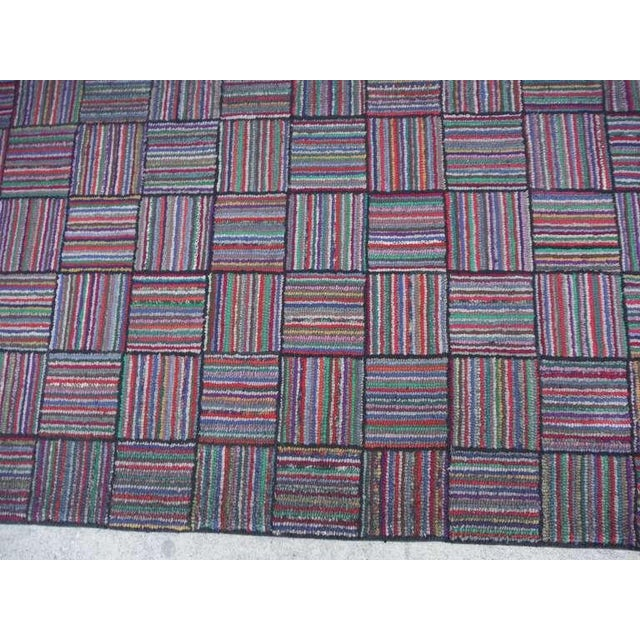 Amazing Long Hand-Hooked Runner Rug in Log Cabin Pattern # 2 - Image 5 of 5