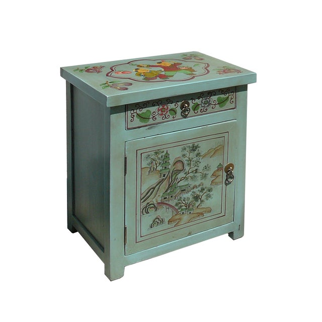 Oriental Pastel Blue Kid Scenery Side Table - Image 2 of 5