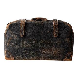 Vintage Black Leather Suitcase