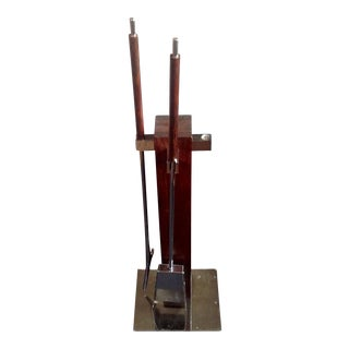 Alessandro Albrizzi Rosewood & Chrome Fireplace Tools