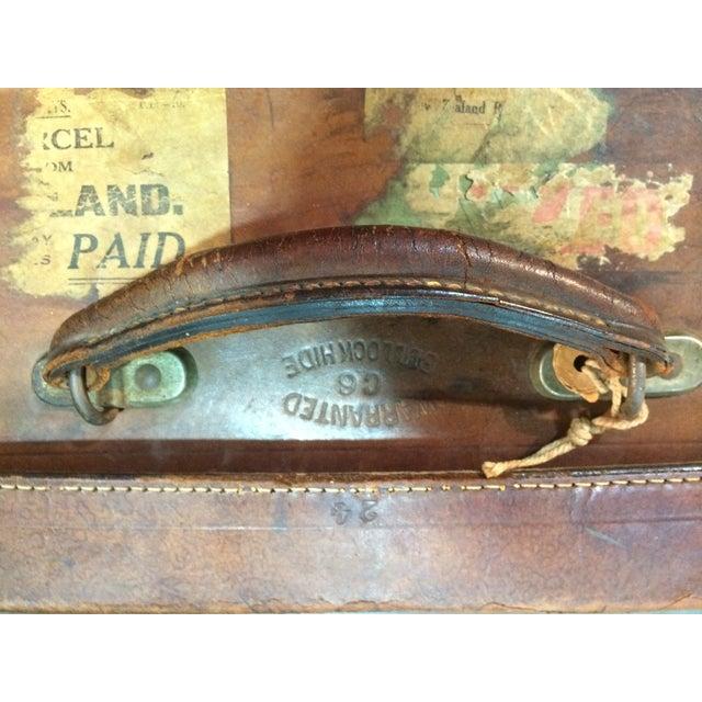 Antique Suitcase Bullock Hide Worldwide Traveler - Image 6 of 6