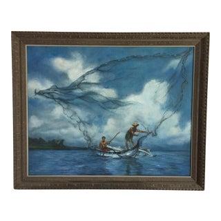 1969 Mary Meggioro Hawaii Fisherman Oil Painting