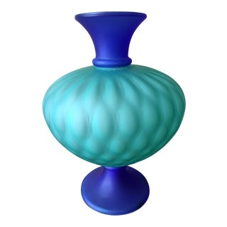 Italian Blue & Green Modern Glass Urn