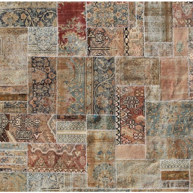 "Hand-Knotted Brown Patchwork Rug - 9'4"" x 9'5"" - Image 2 of 2"