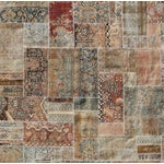 "Image of Hand-Knotted Brown Patchwork Rug - 9'4"" x 9'5"""