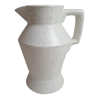 Small Cream Speckled Pottery Pitcher