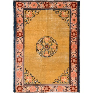 Chinese Apadana Yellow Peking Rug - 4' x 5'8""