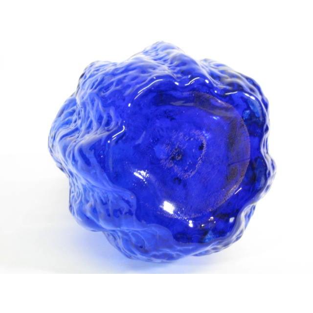 Art Glass Bark Textured Blue Vase - Image 7 of 9