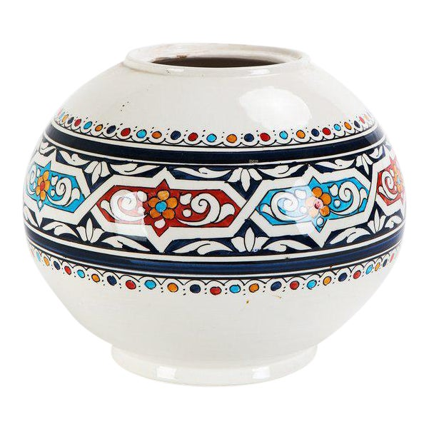 Moroccan Hand Painted Ceramic Globe Vase - Image 1 of 3