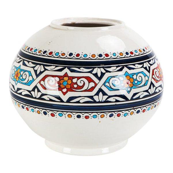 Image of Moroccan Hand Painted Ceramic Globe Vase