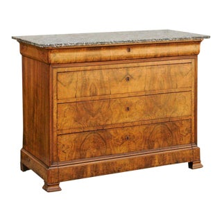 1850 French Louis-Philippe Commode with Bookmatched Walnut Veneer and Marble Top