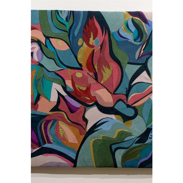 Colorful Suede Art Textile by B.L. Fisher - Image 5 of 6