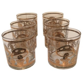 Culver Signed Gold Mushroom Low Ball Glasses - 6