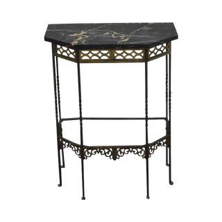 1930s Bronze & Iron Marble Top Console w/ Mirror (possible Oscar Bach)