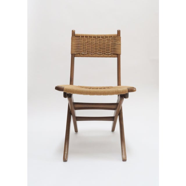 Vintage Danish Modern Rope Folding Chair - Image 3 of 7