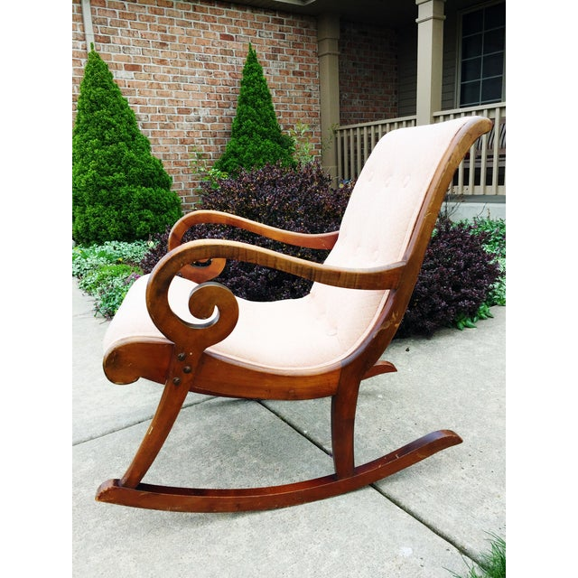 1940's French Rocking Chair - Wood Curved Arms - Image 6 of 8