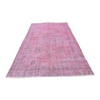 Vintage Turkish Antique Pink Rug - 5′8″ × 9′