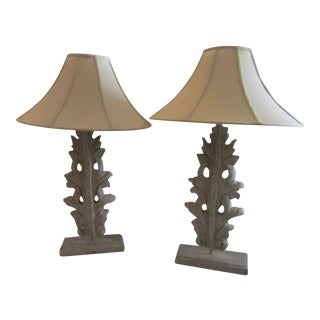 Leaf/Fleur Tall Table Lamps - a Pair