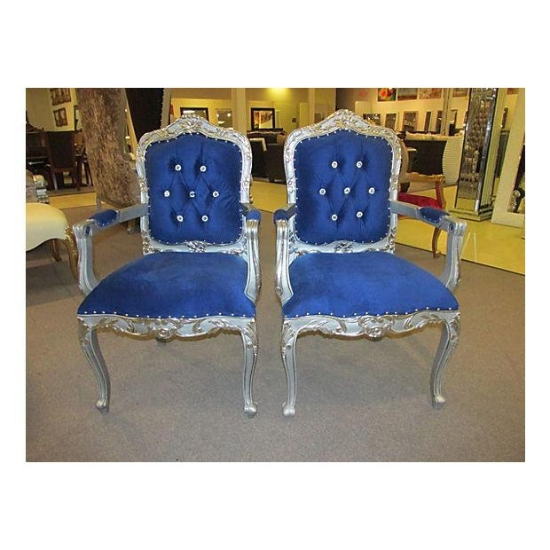 Image of Mid-Century Velvet Armchairs - A Pair