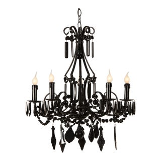 A stylish five arm crystal chandelier painted black from France c. 1940.