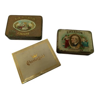 Vintage Tobacco Cigar & Cigarette Tins - Set of 3