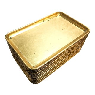 Vintage Gold Leaf Japanese Lacquer Mini Serving Trays - Set of 18