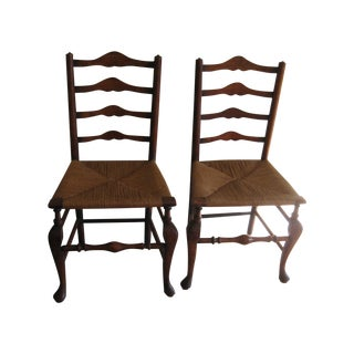 Antique English Ladderback Chairs - Pair