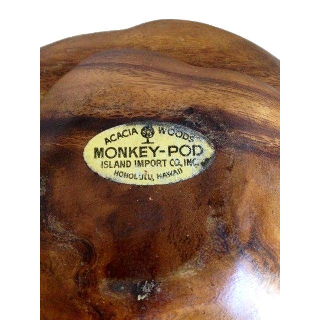 Mid-Century Monkey Pod Acacia Wood Salad Bowl Set - Image 3 of 3