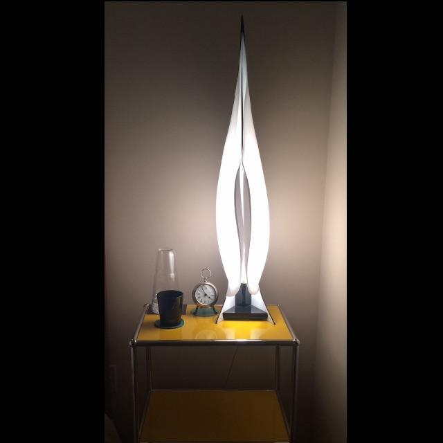 Image of Large Rougier Lucite Sculptural Lamps - a Pair