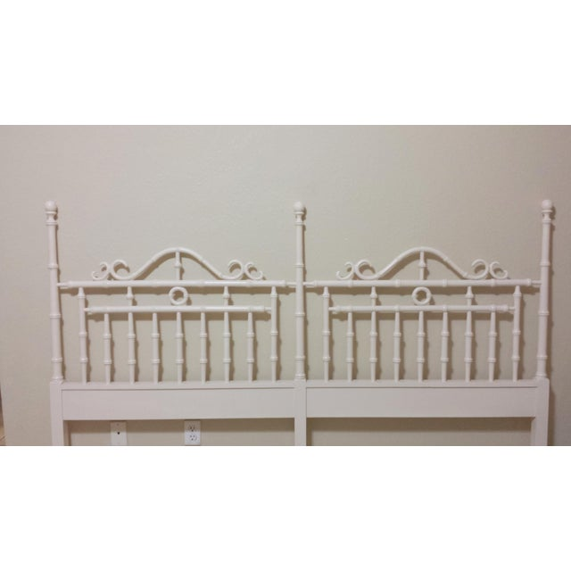 Vintage Chinese Chippendale Faux Bamboo Fretwork King Size Headboard - Image 3 of 8