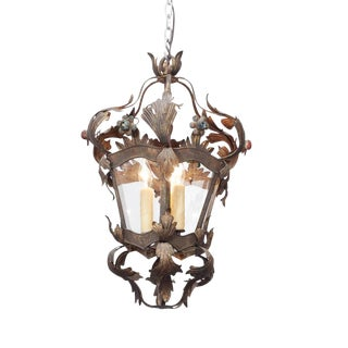 Italian Tole Lantern with Acanthus Leaves and Flowers