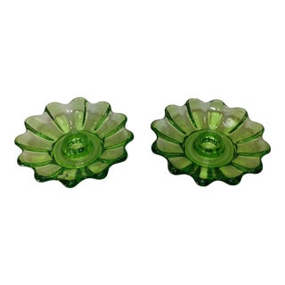 Vintage Green Glass Candle Holders - Pair