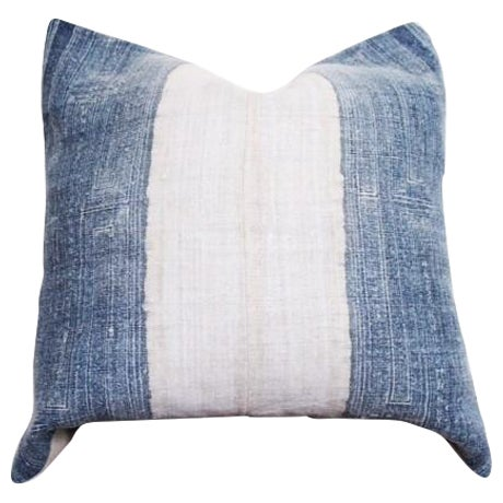 Vintage Batik Hmong Blue and White Pillow - Image 1 of 4