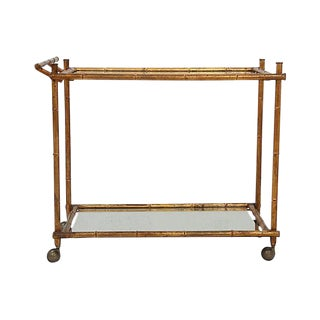Hollywood Regency Faux Bamboo & Glass Bar Cart