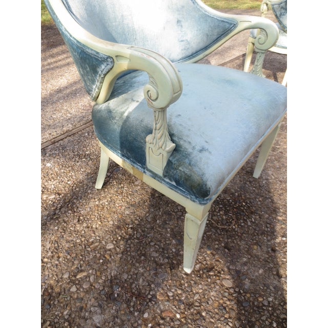 Vintage 1950s Blue Velvet French Chairs - A Pair - Image 7 of 7