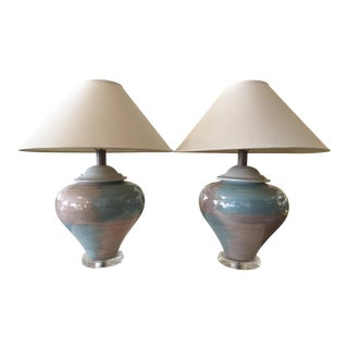 Ceramic and Lucite Table Lamps With Shades