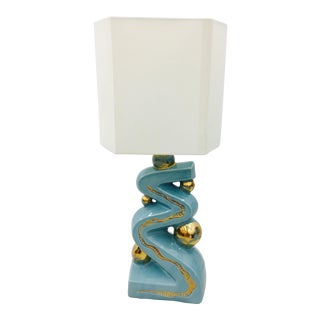 Retro Blue & Gold Ceramic Lamp