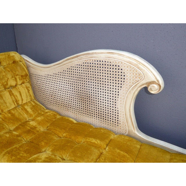 French Provincial White Cane & Gold Velvet Bench Settee - Image 7 of 11