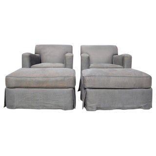 Pair of Christian Liaigre Lounge Chairs with Ottomans