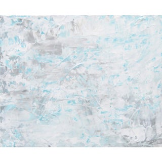 Abstract White & Blue Textured Painting by C. Plowden
