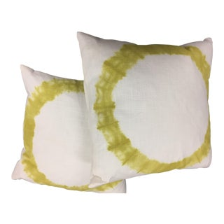 Chartreuse Tie Dye Decorative Pillows - A Pair