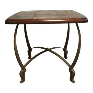 Granite & Wood Side Table