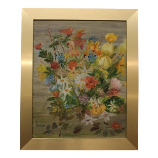 Mid-Century Modern Floral Abstract Painting